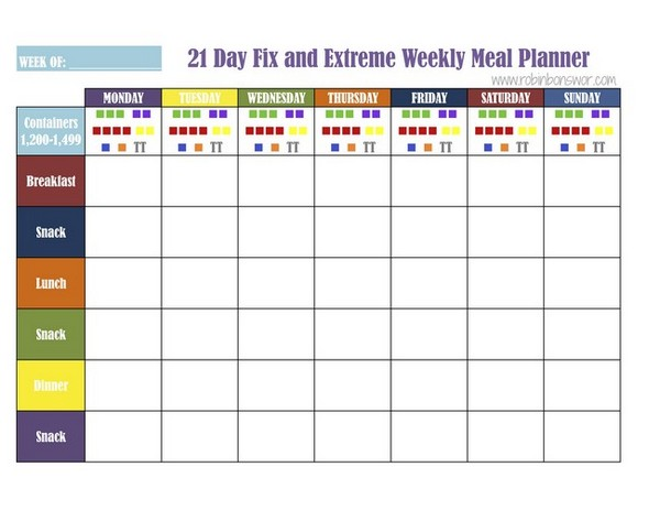21 day fix meal planning sheet