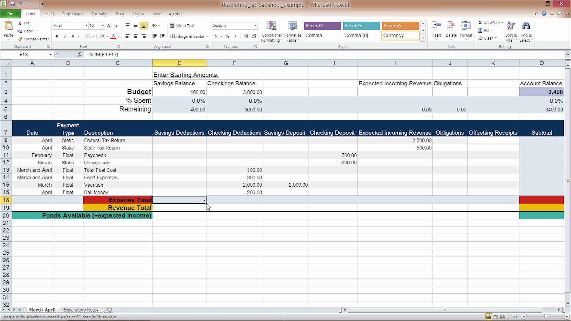 50 30 20 budget excel spreadsheet
