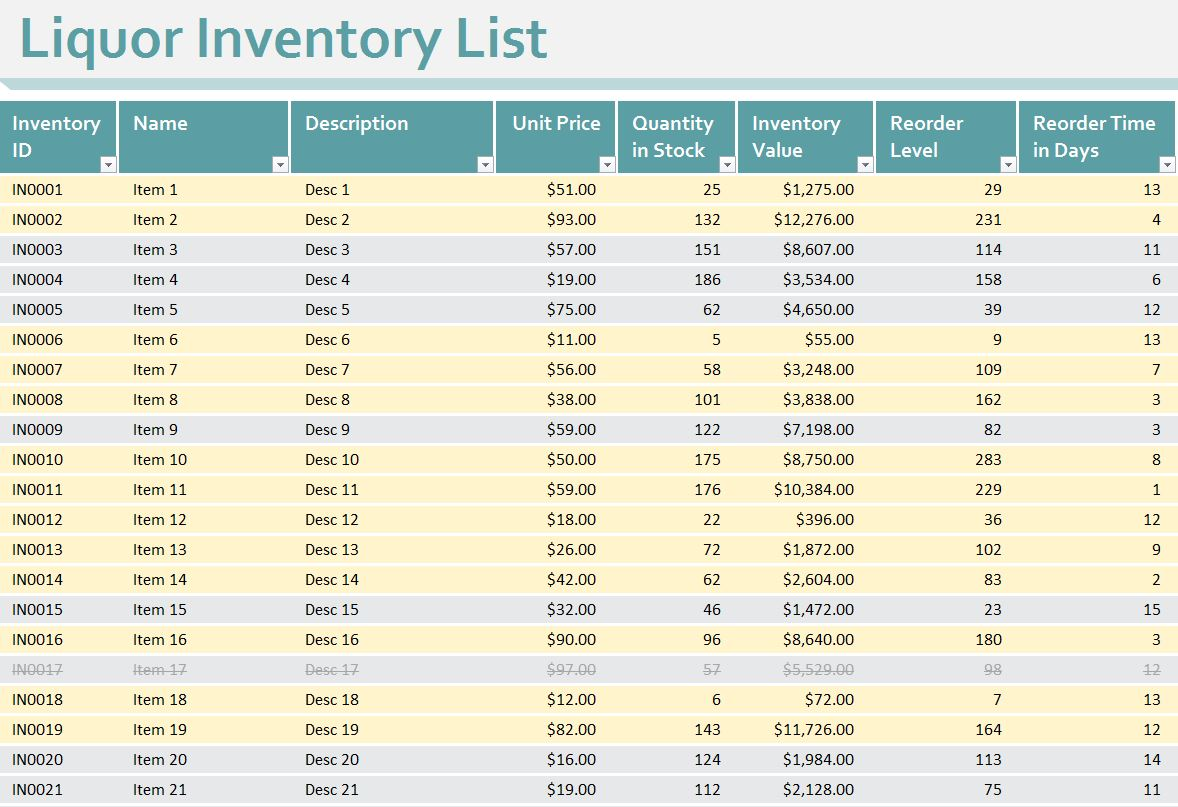 Bar Liquor Inventory Spreadsheet free