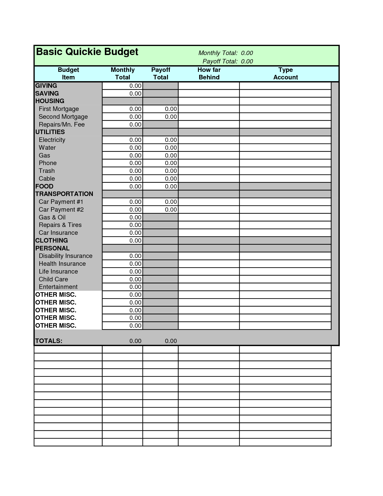 Dave Ramsey Allocated Spending Plan Excel Spreadsheet_14
