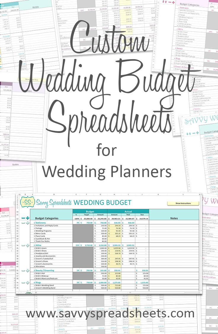 Printable Wedding Bud Spreadsheet