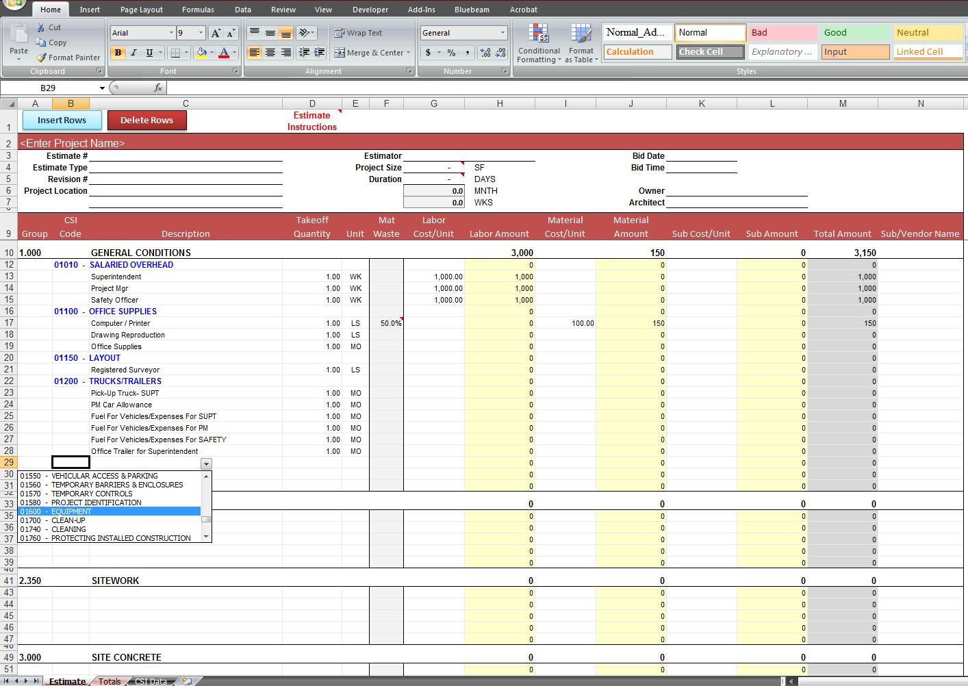 Excel Spreadsheet For Construction Estimating | LAOBINGKAISUO.COM