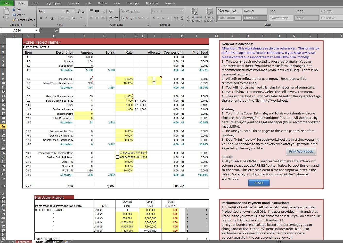 Free Building Construction Estimate Spreadsheet Excel Download