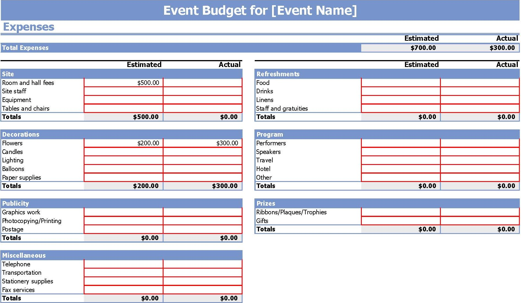 Free Party Expenses Spreadsheet Templates