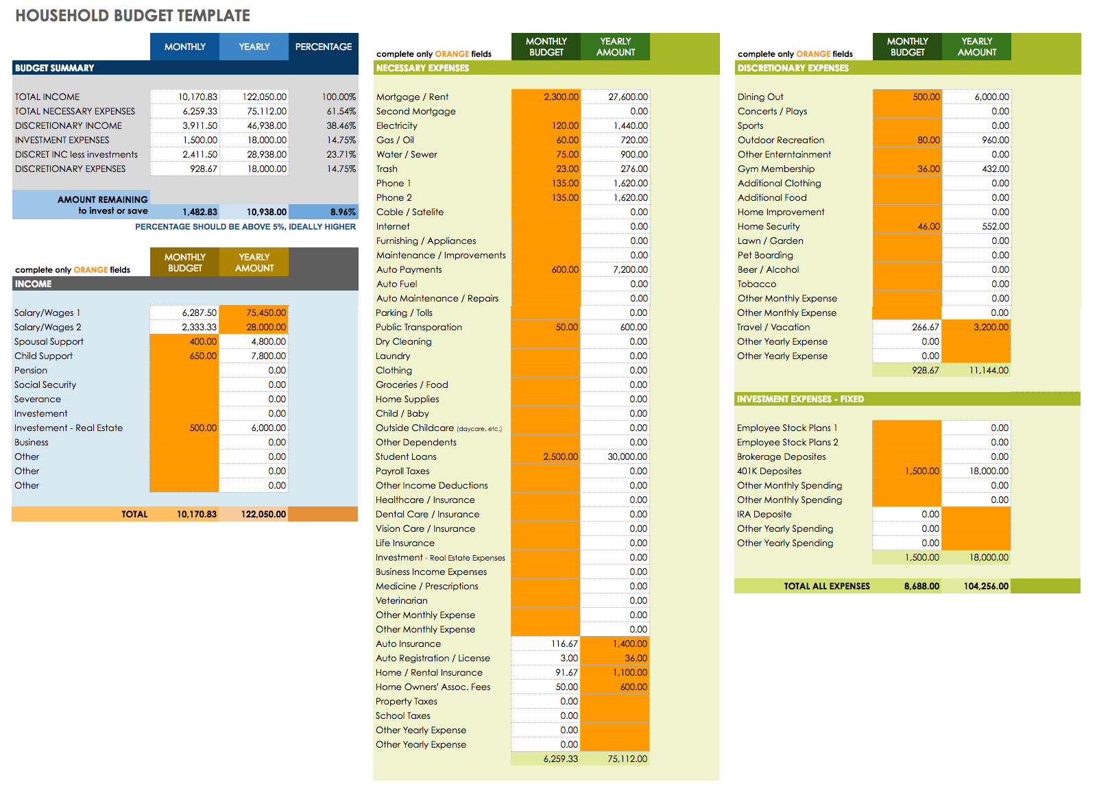 Free Templates Income Projection Spreadsheet Download