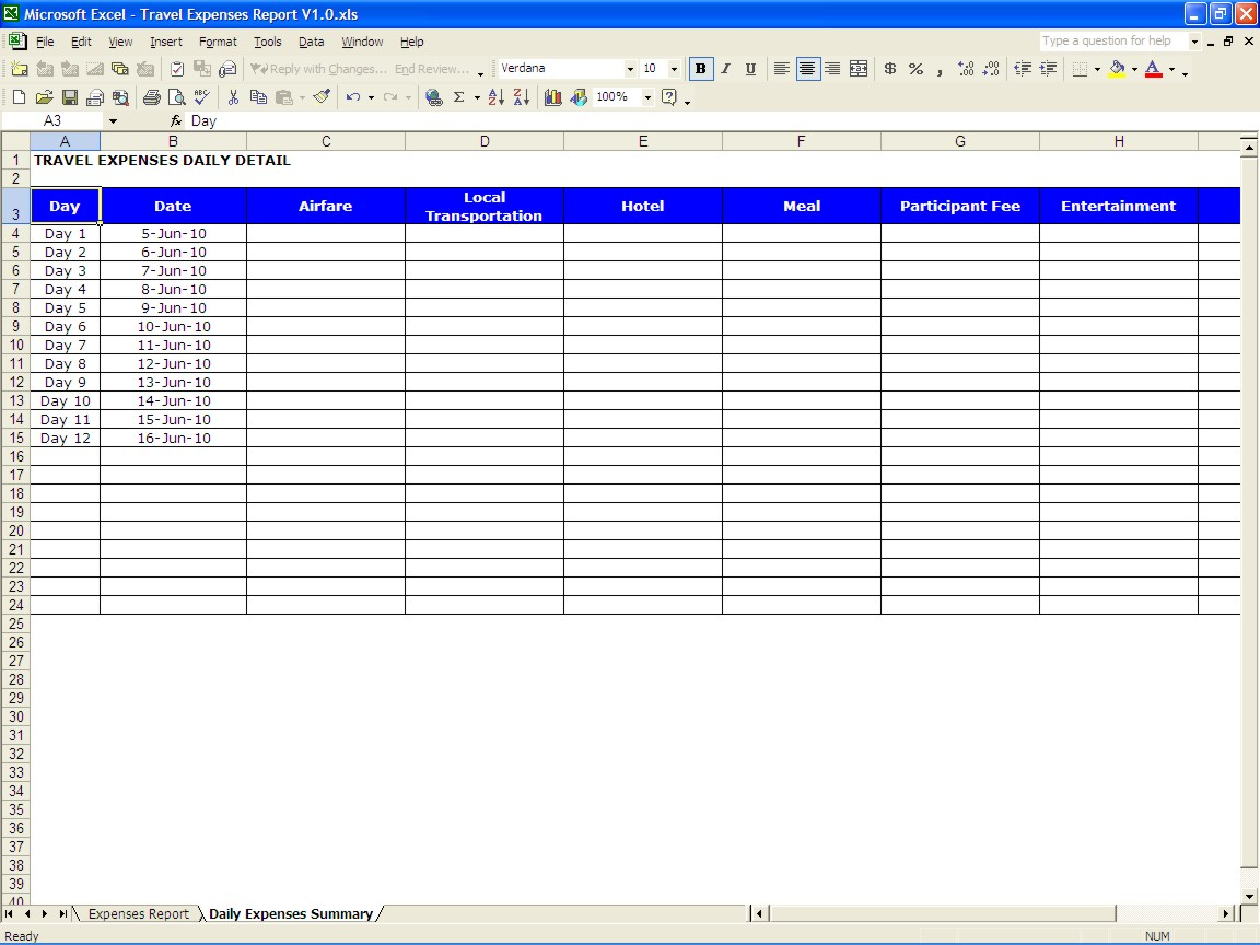 Free Travel Spreadsheet Excel Templates