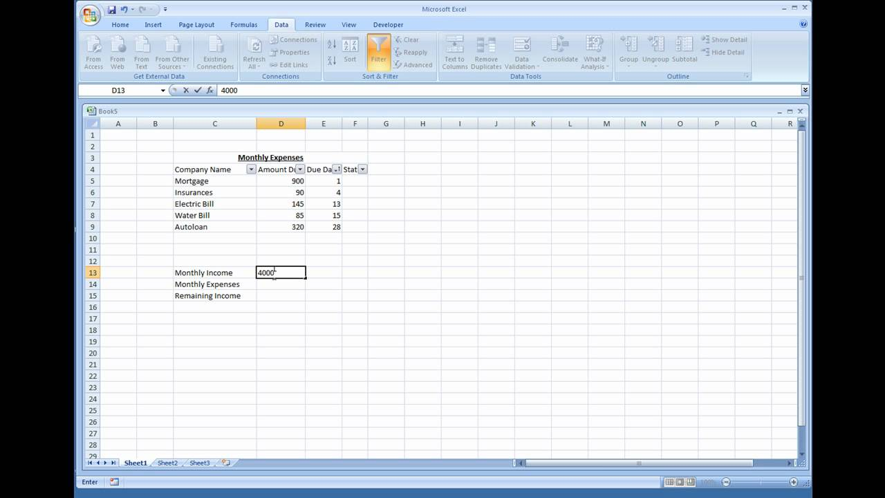 How To Make A Spreadsheet For Monthly Bills_2