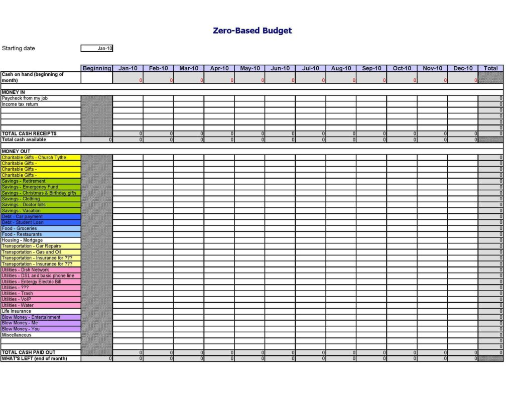 Insurance Spreadsheet Template