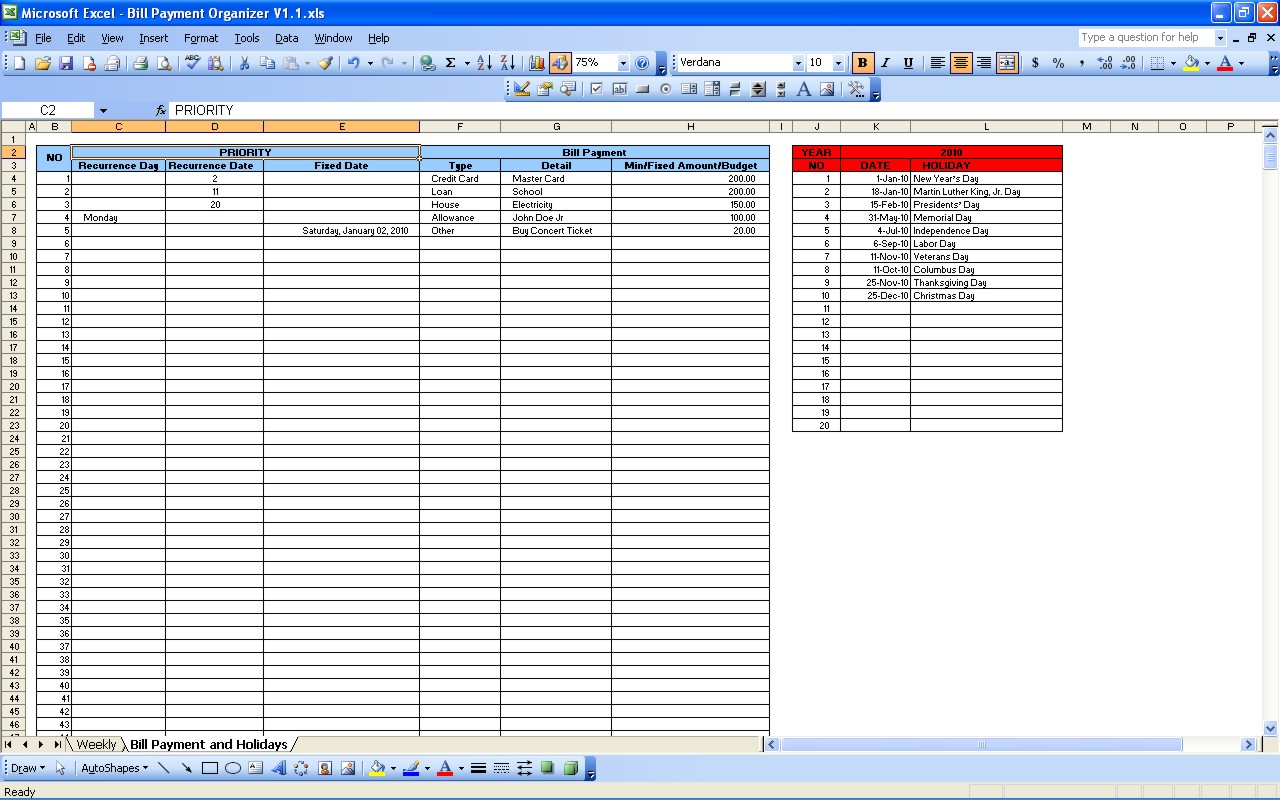Monthly Bill Pay Spreadsheet