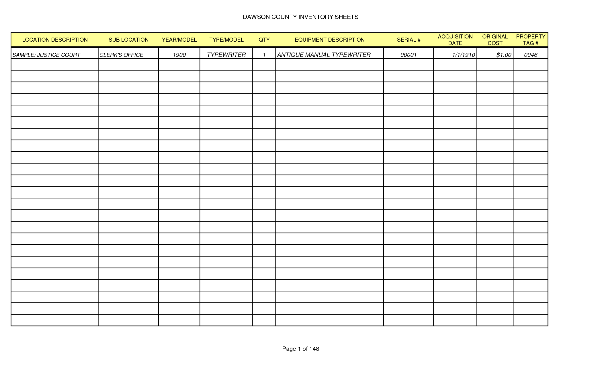 Sample Bar Inventory Spreadsheet