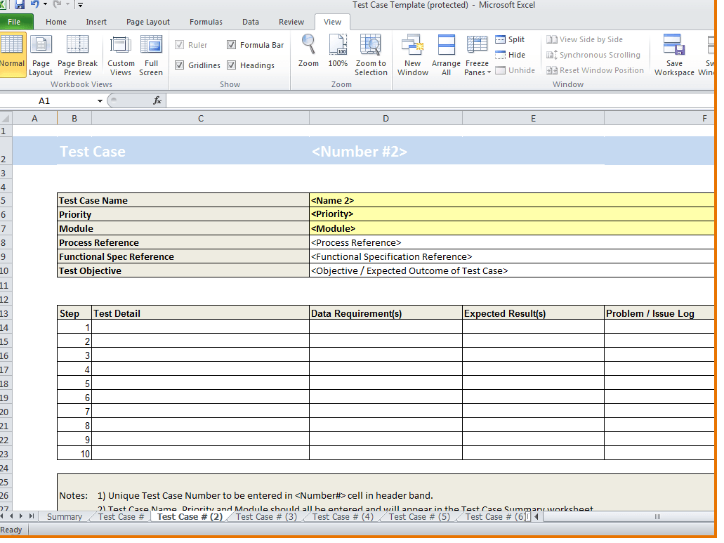 Software Testing Spreadsheet Template free