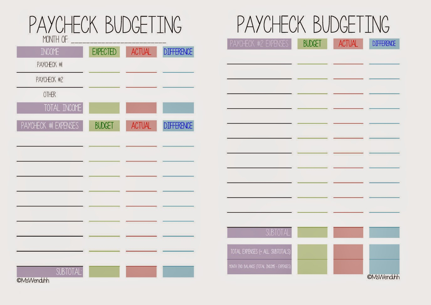 Template Paycheck To Paycheck Budget Spreadsheet