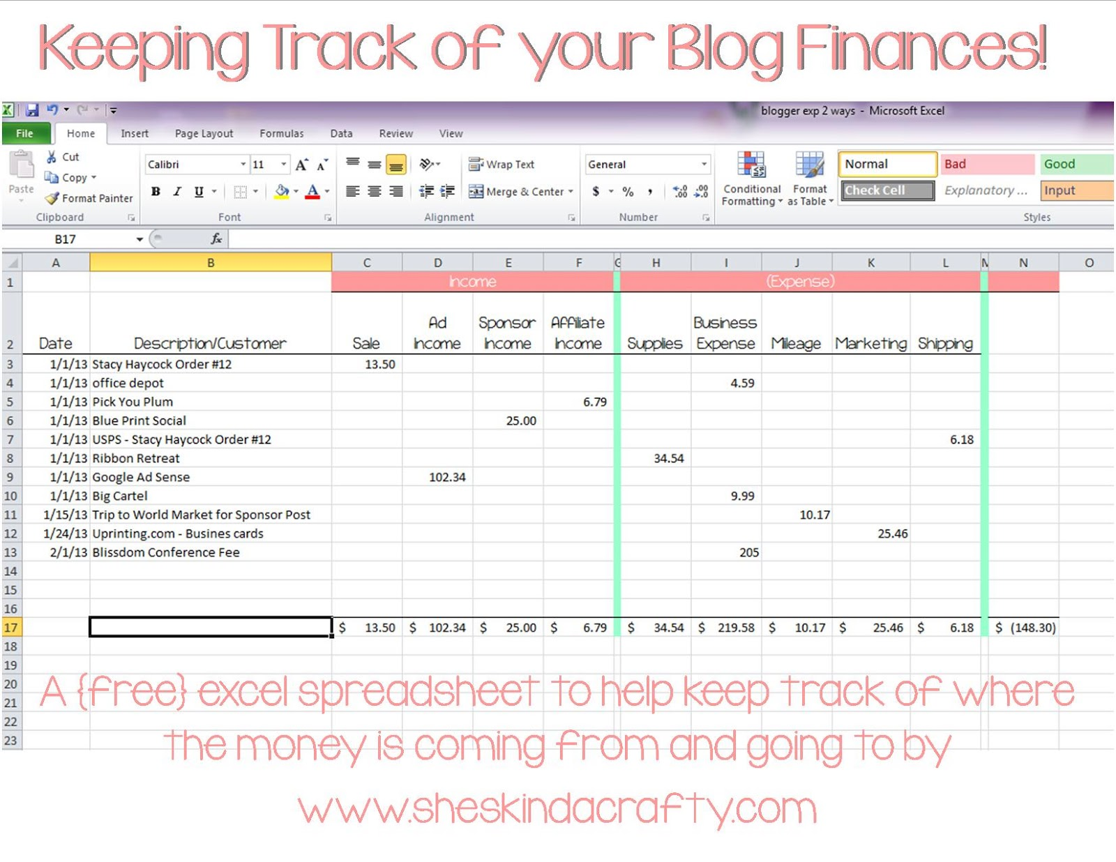 Tracking Spending Spreadsheet free templates