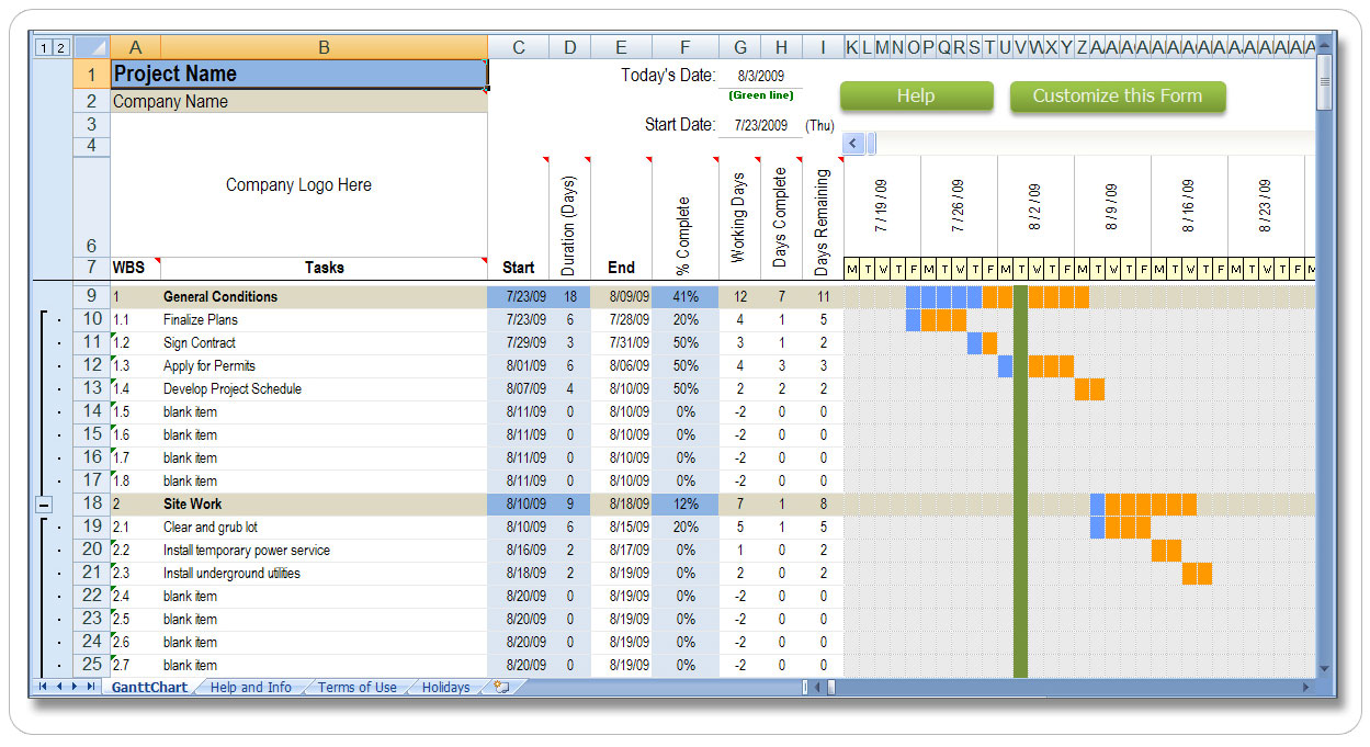 schedule of values excel template