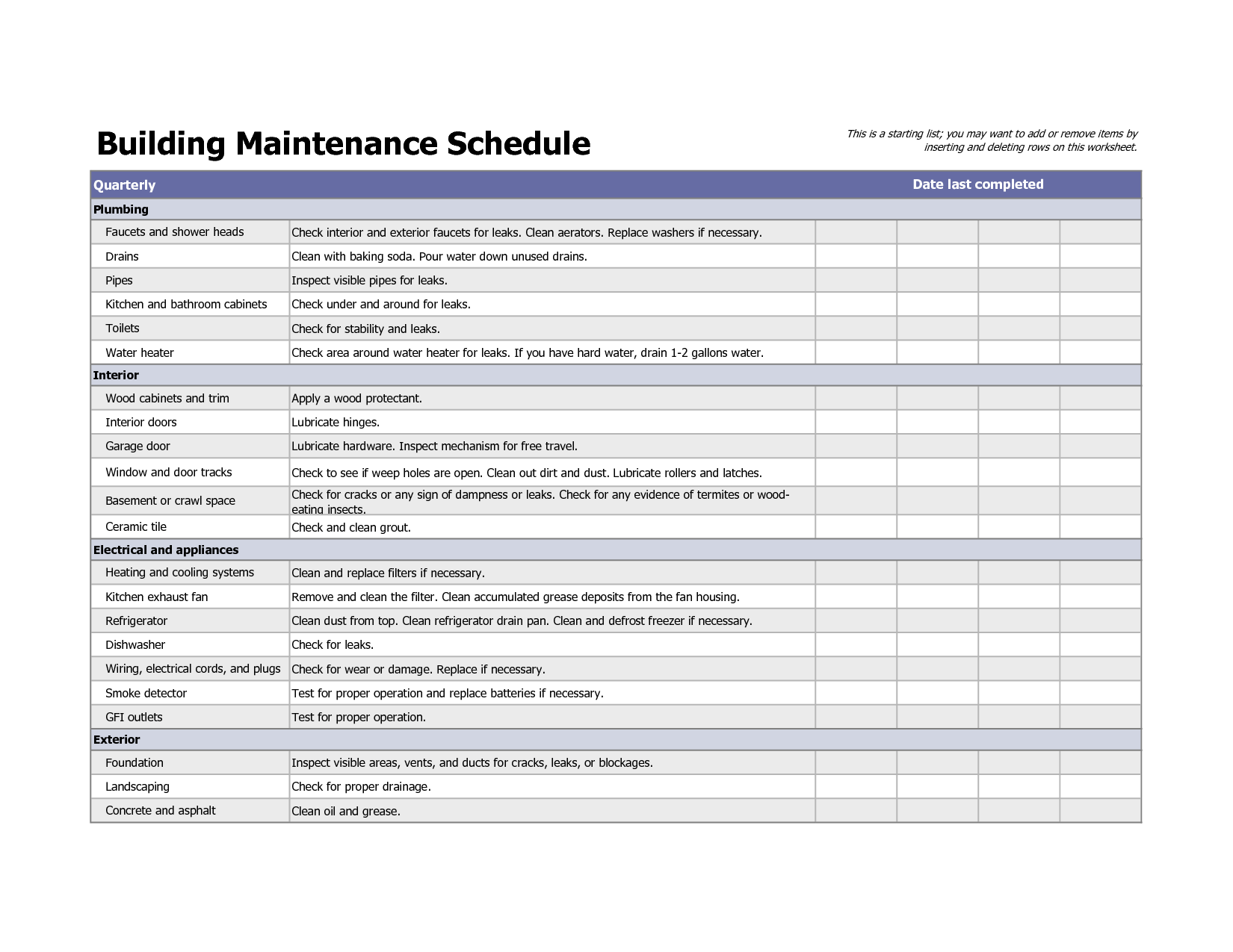 car maintenance checklist spreadsheet
