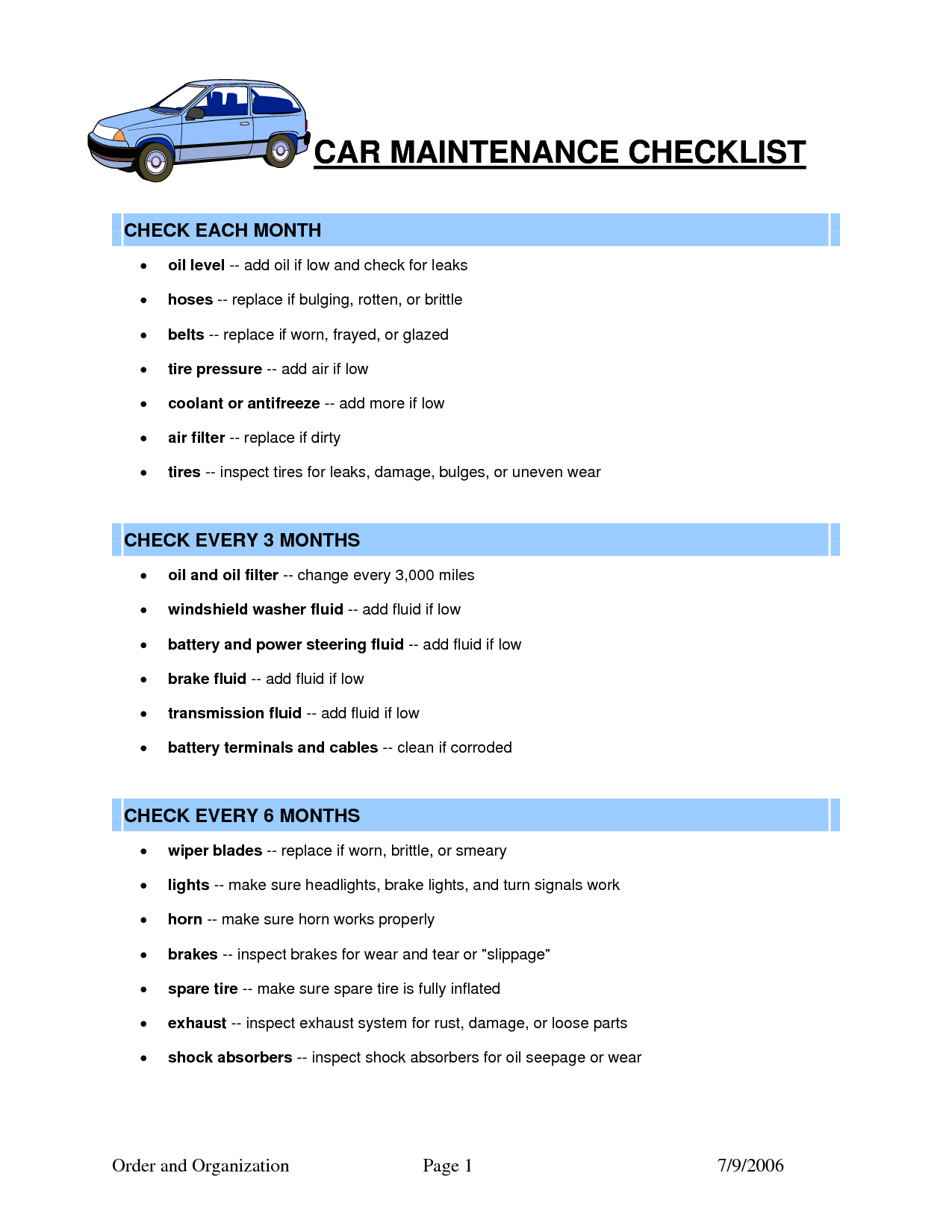 car maintenance schedule spreadsheet free