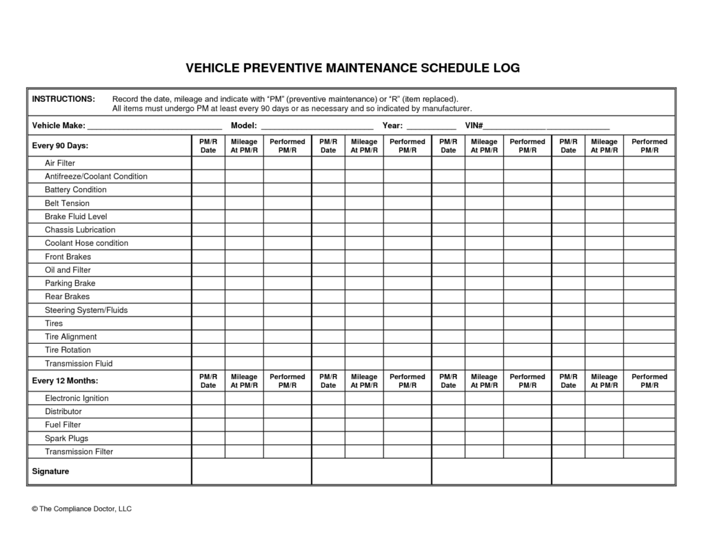 car maintenance schedule spreadsheet software