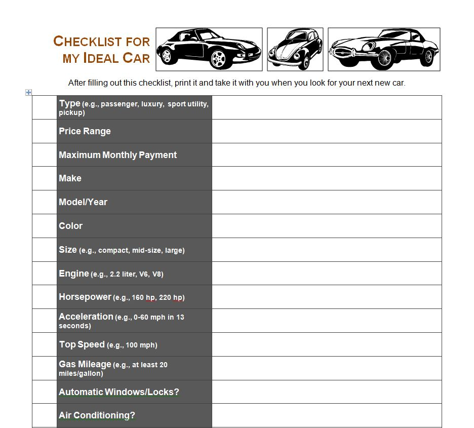 car purchase worksheet