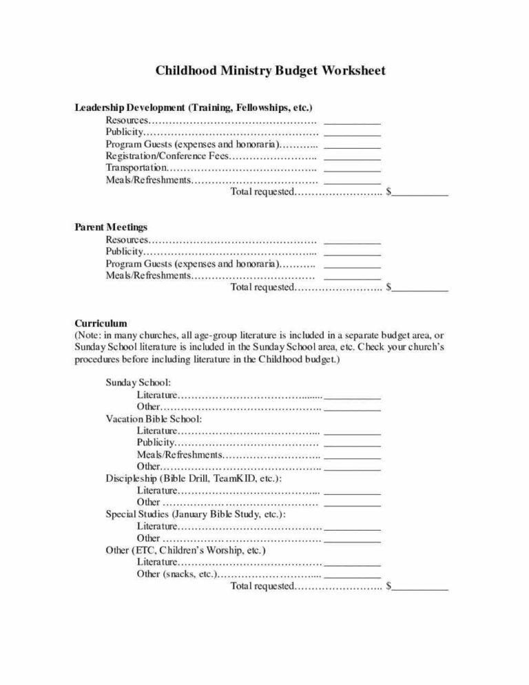 Church Ministry Budget Request Form