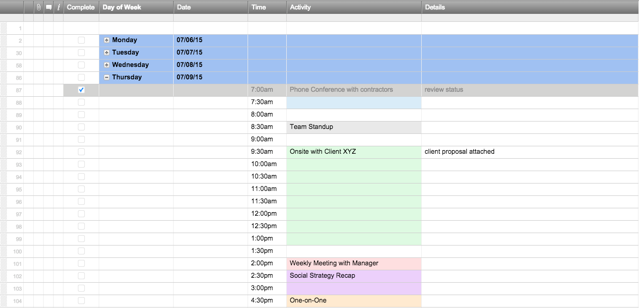 one week work schedule template