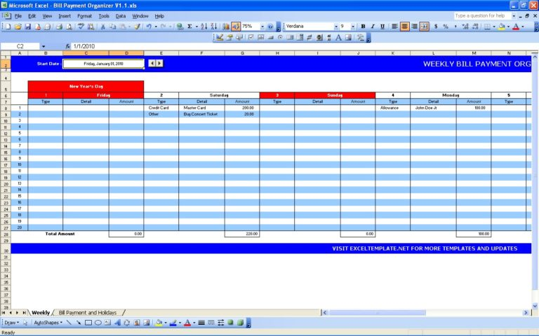 daily report template excel