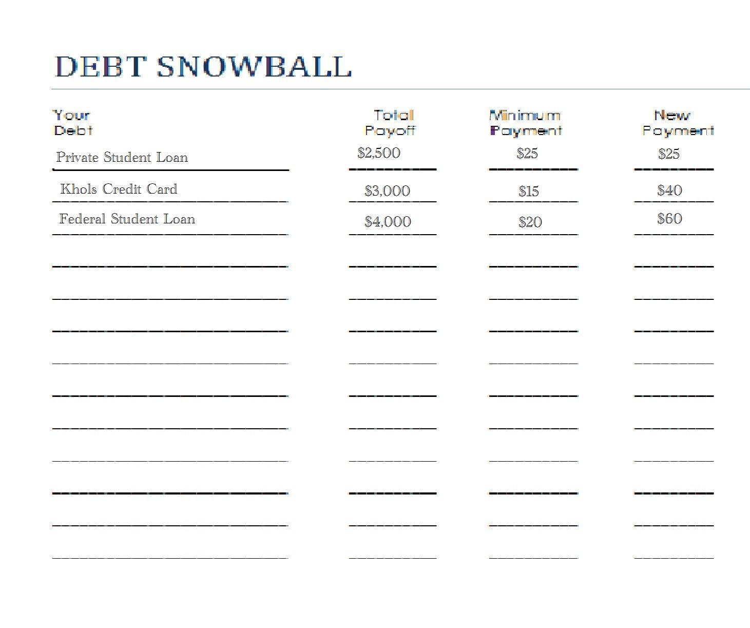 debt reduction spreadsheet for numbers