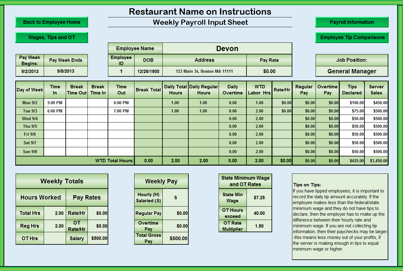 food cost template