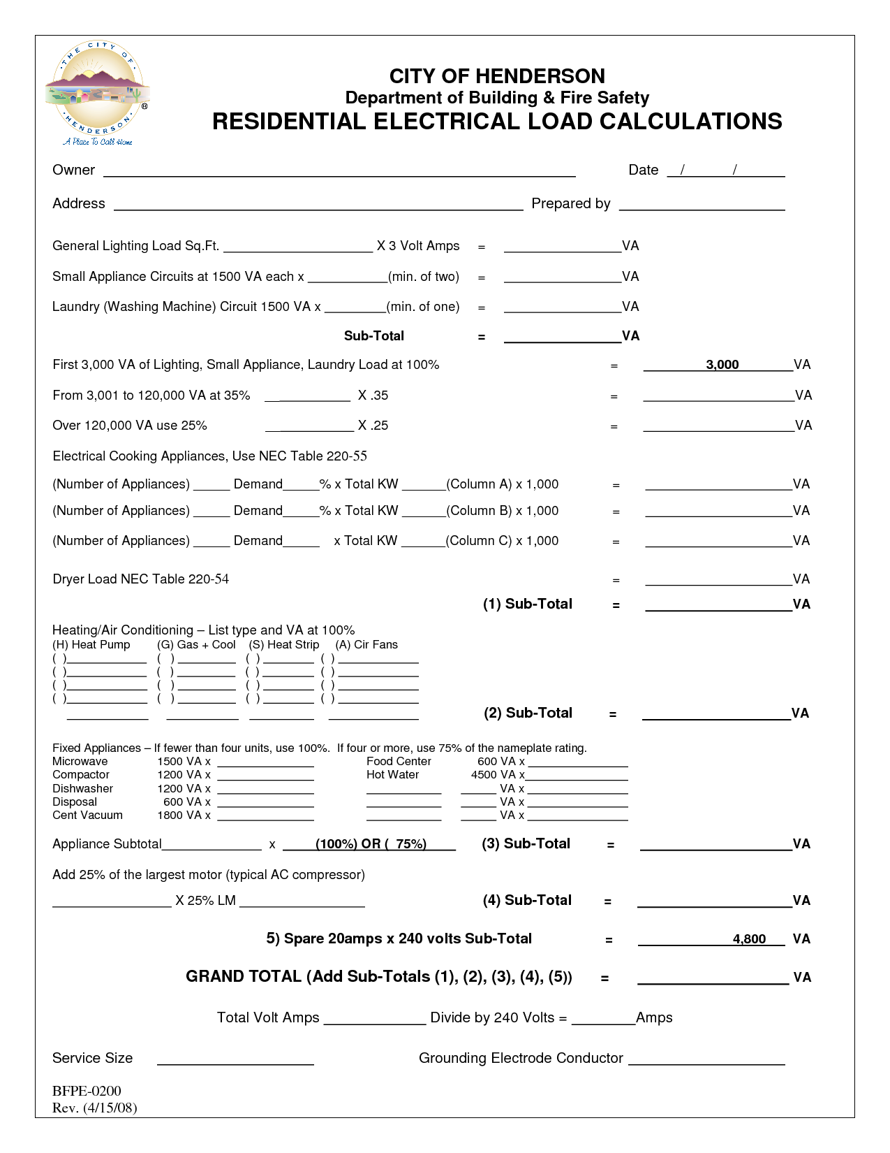 Commercial Electrical Load Calculation Worksheet 006 - Commercial Electrical Load Calculation Worksheet