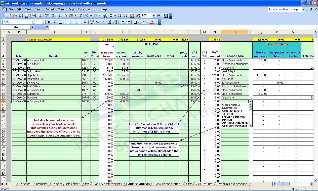 download template spreadsheet for accounting in small business