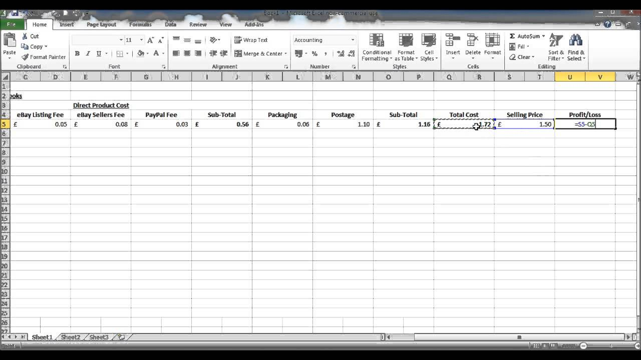 ebay excel spreadsheet free download