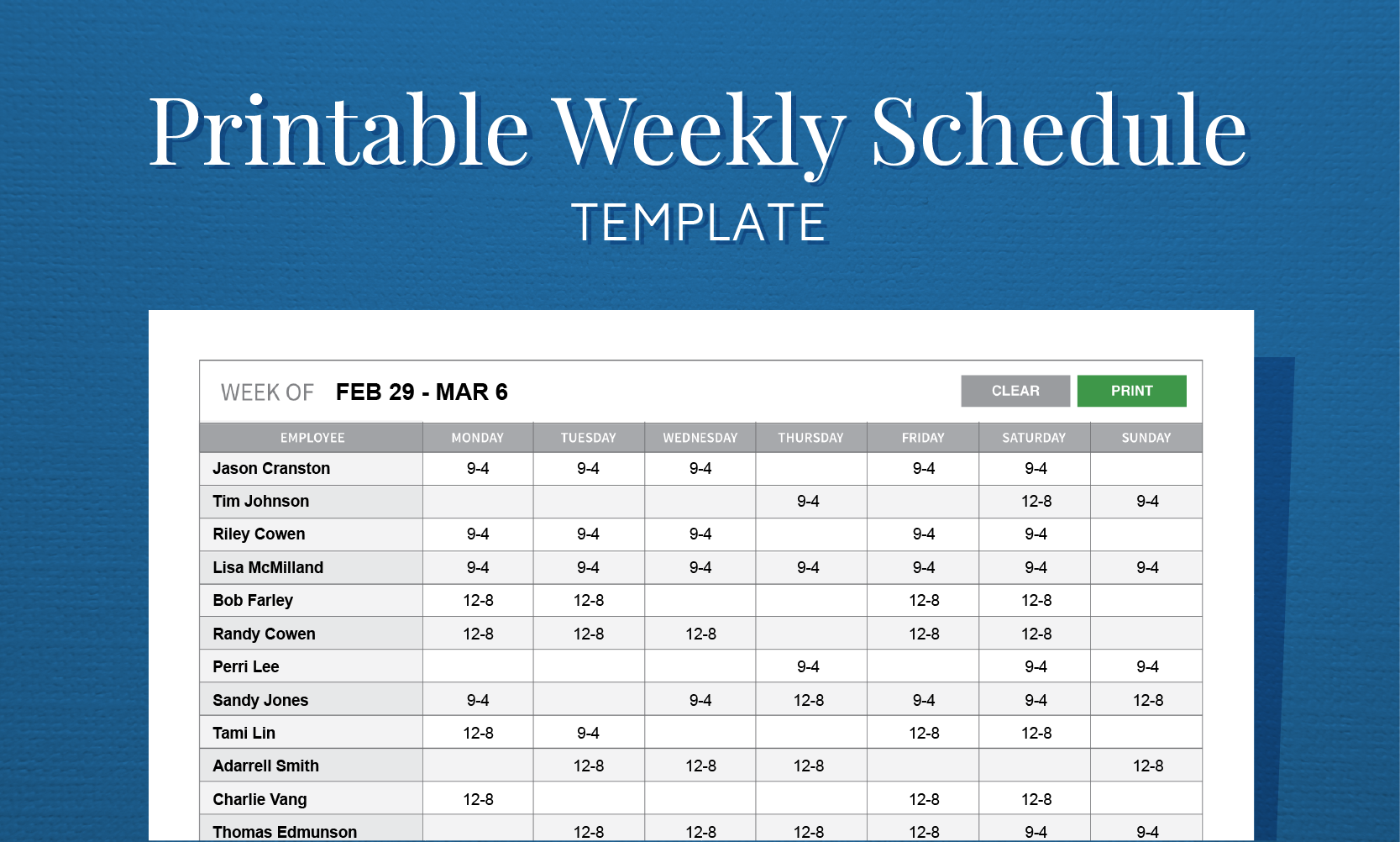 employee schedule maker excel template