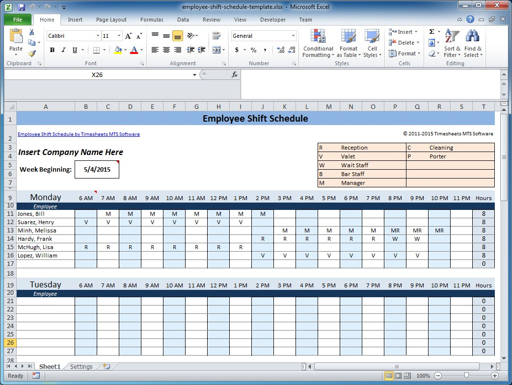 employee scheduling spreadsheet excel