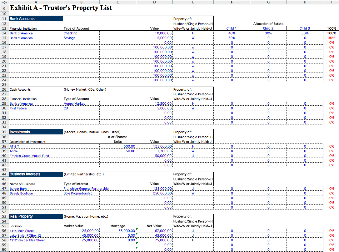 Estate accounting template for Real estate trust account ledger template