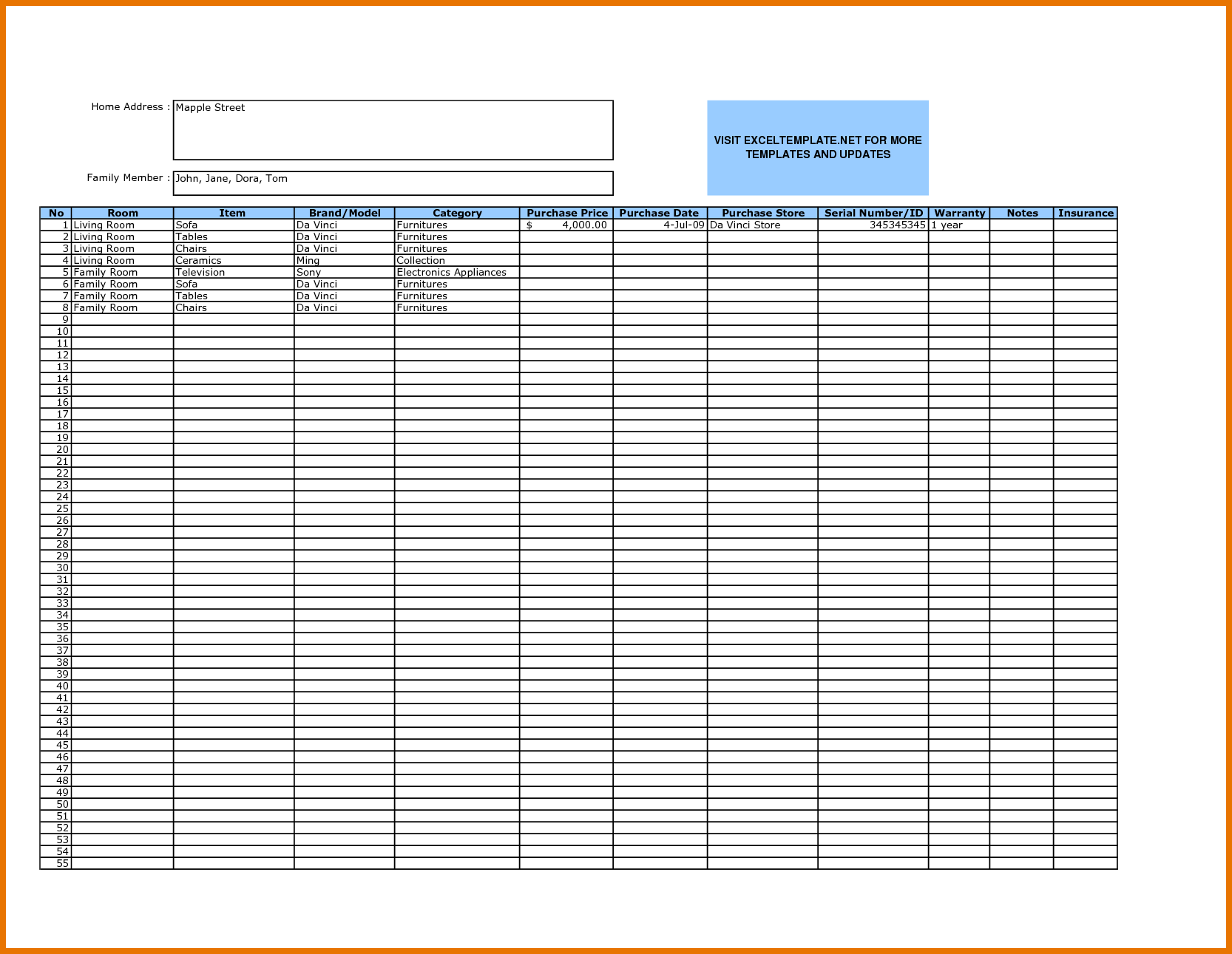 examples of excel inventory spreadsheets