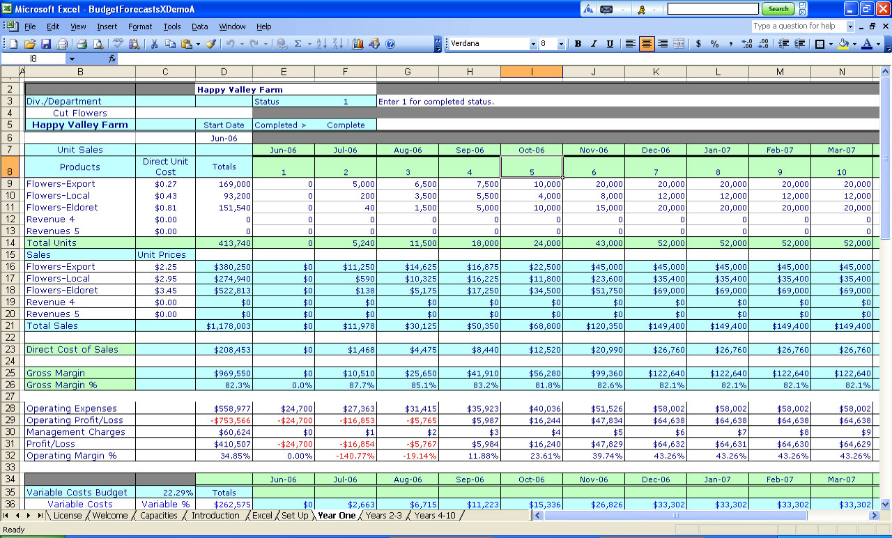 examples of spreadsheet software
