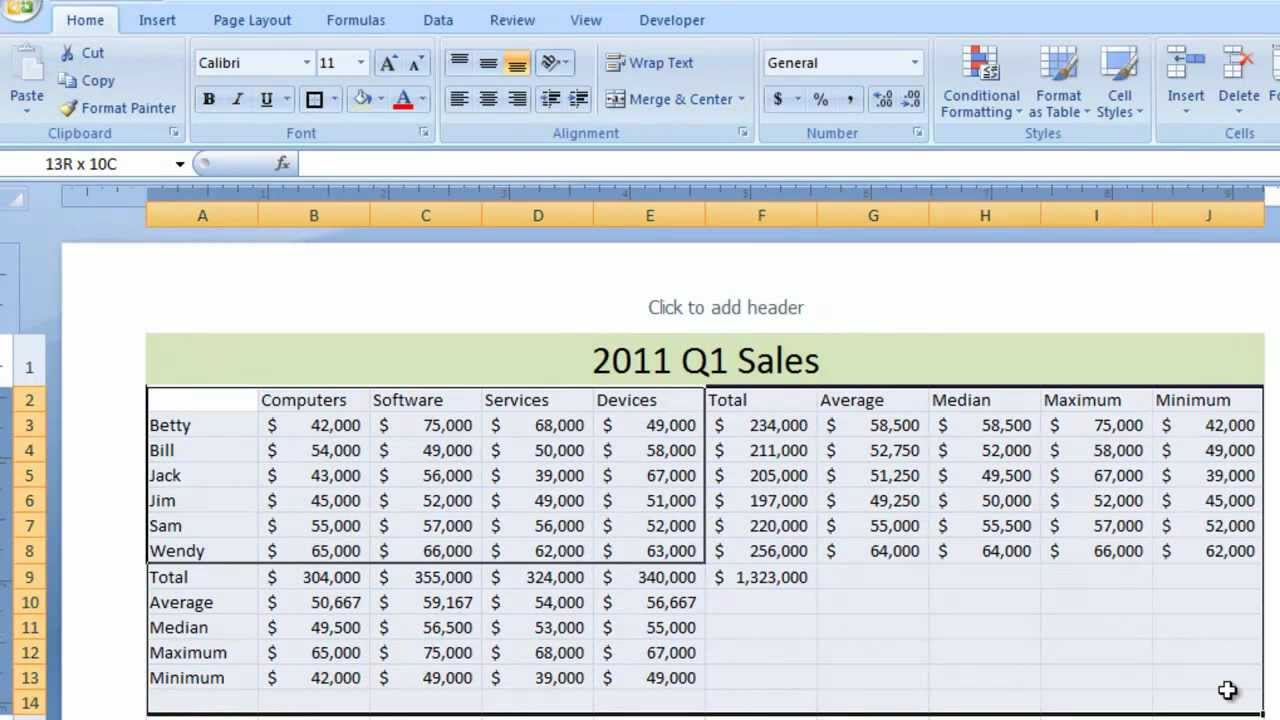 examples of spreadsheets in excel