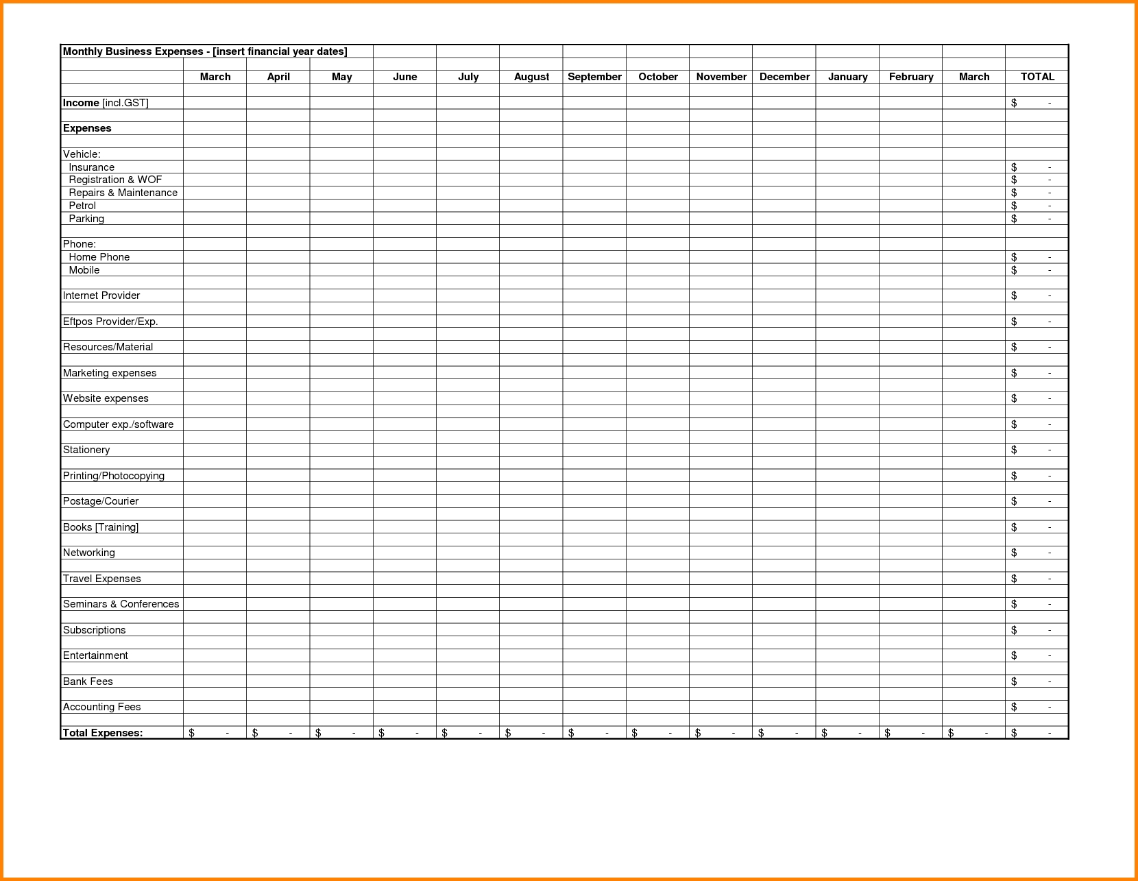 excel format for monthly expenses