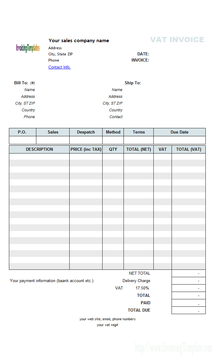 how to create a invoice template in excel
