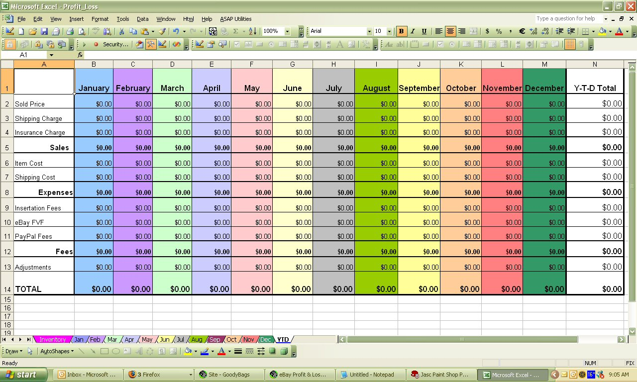 excel spreadsheet for bills