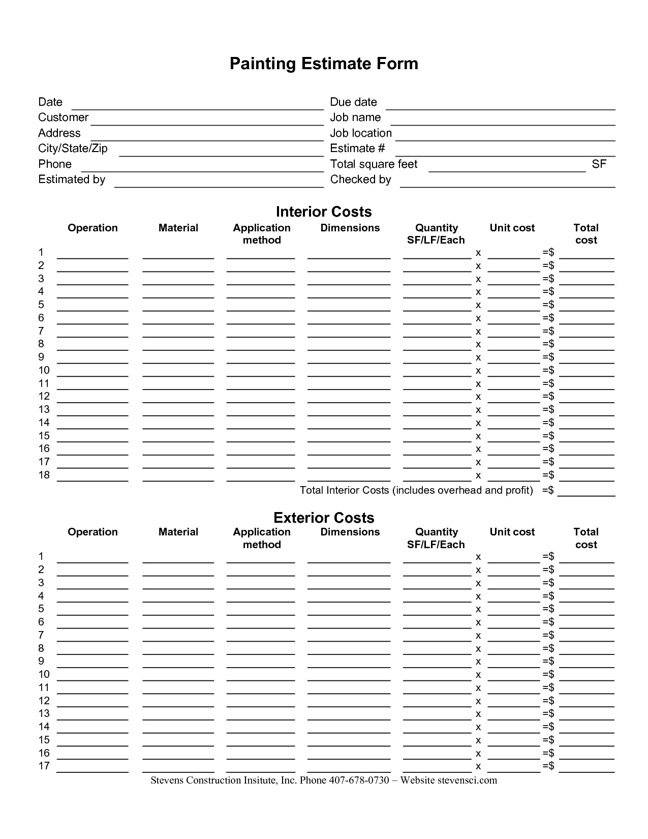 excel takeoff template