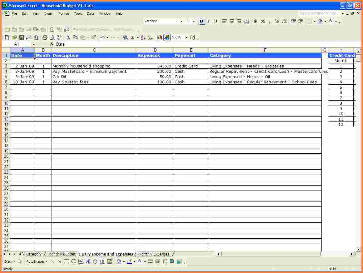 excel template for monthly expenses