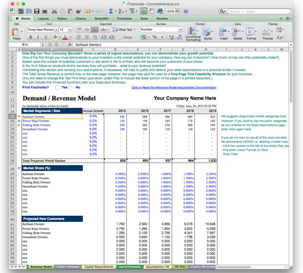 Excel Template For Financial Projections Gallery Templates - Financial projections template for business plan