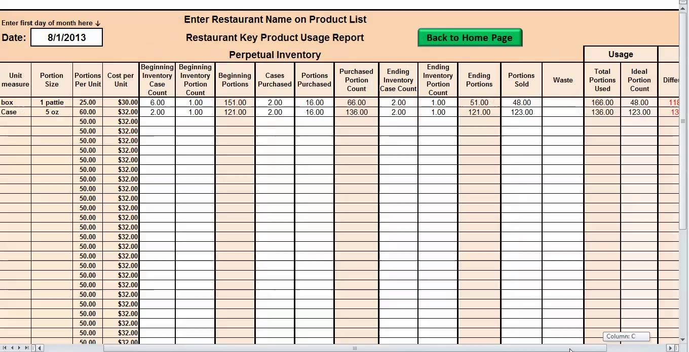 restaurant inventory sheets