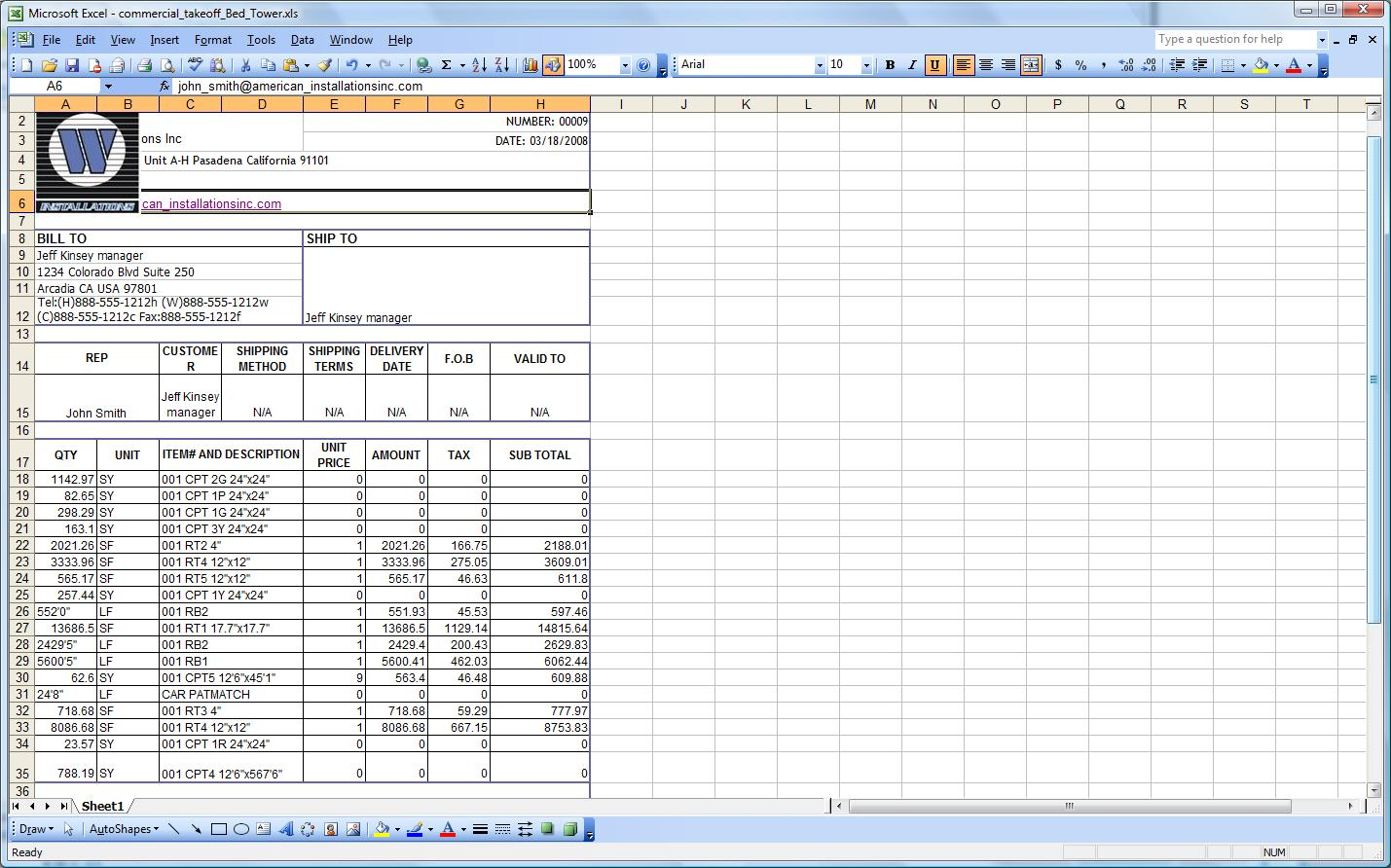 free Construction Take Off Spreadsheets