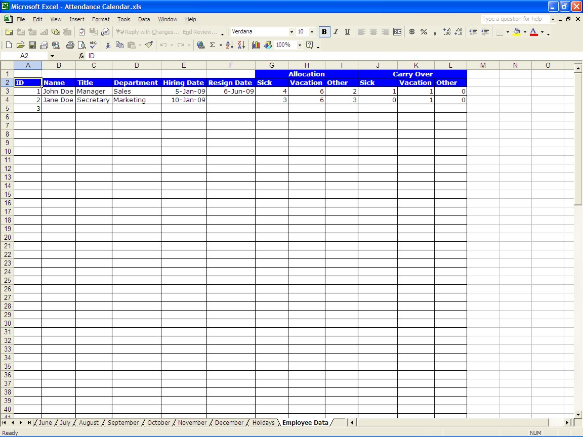 free Vacation Time Accrual Spreadsheet templates