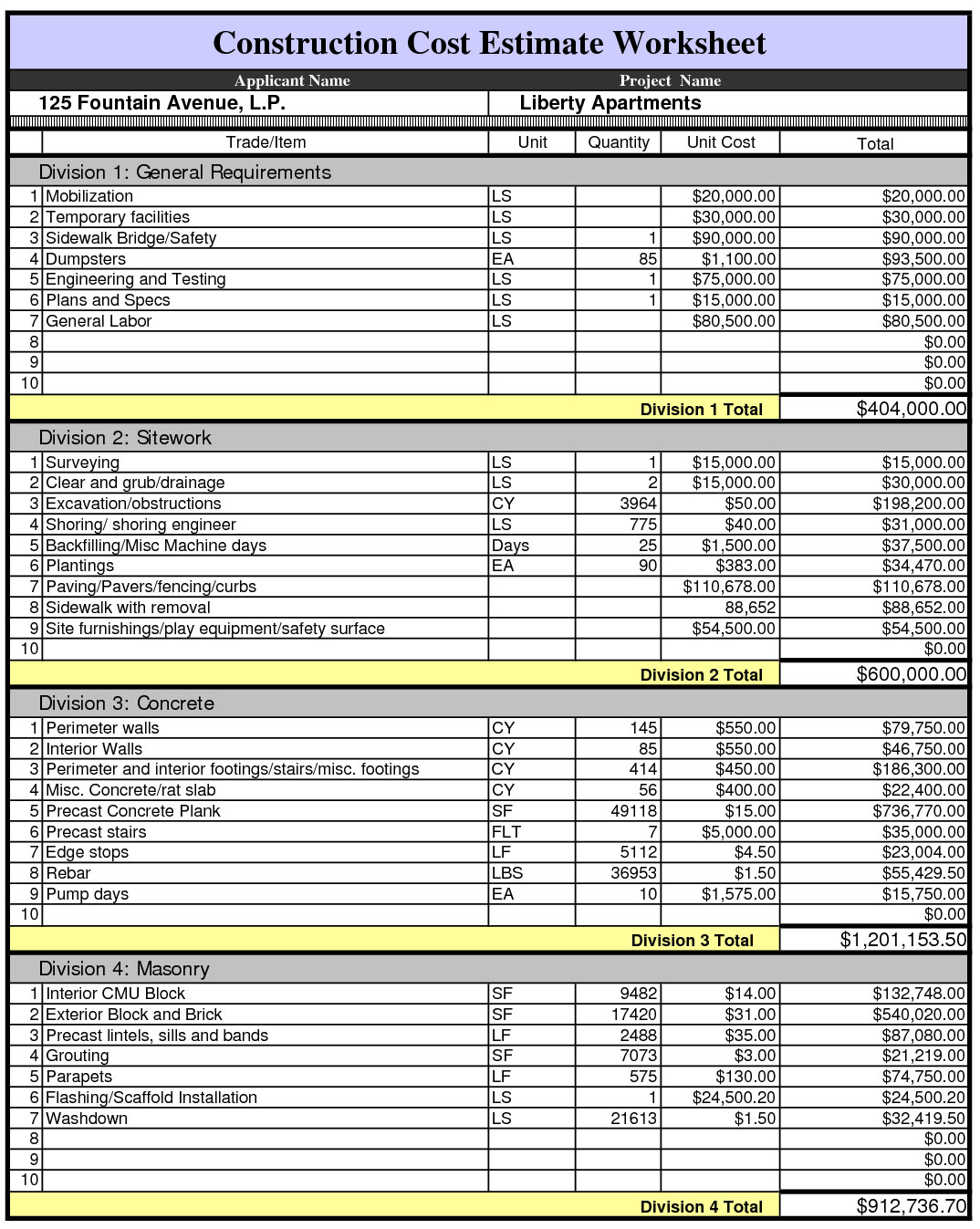 Construction Cost Breakdown Spreadsheet Laobingkaisuo Com