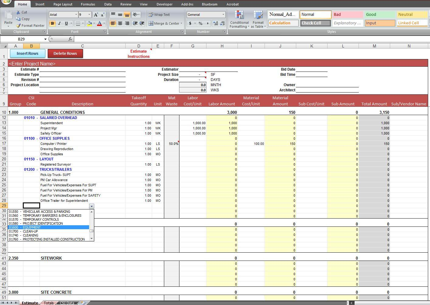 free construction cost estimate spreadsheet