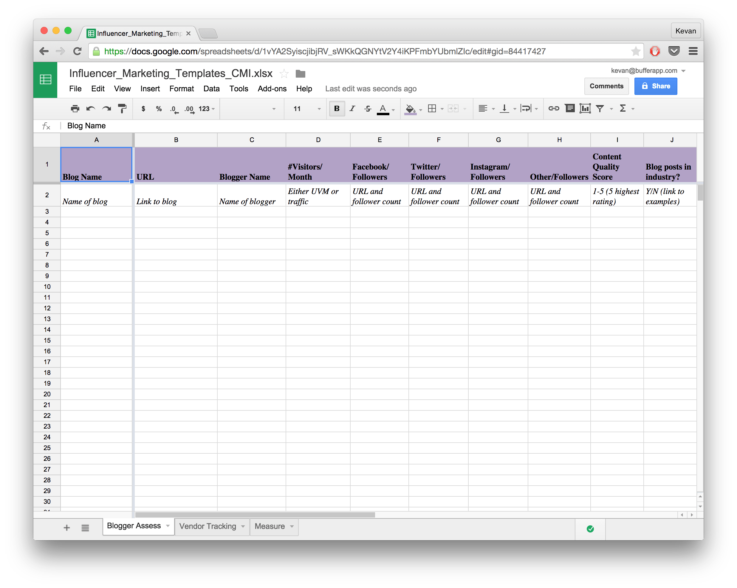 Project Log Template Excel