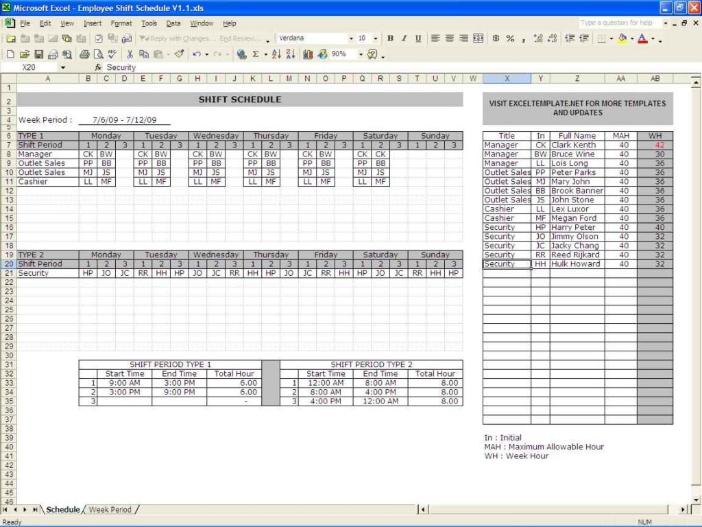 free employee schedule excel spreadsheet templates