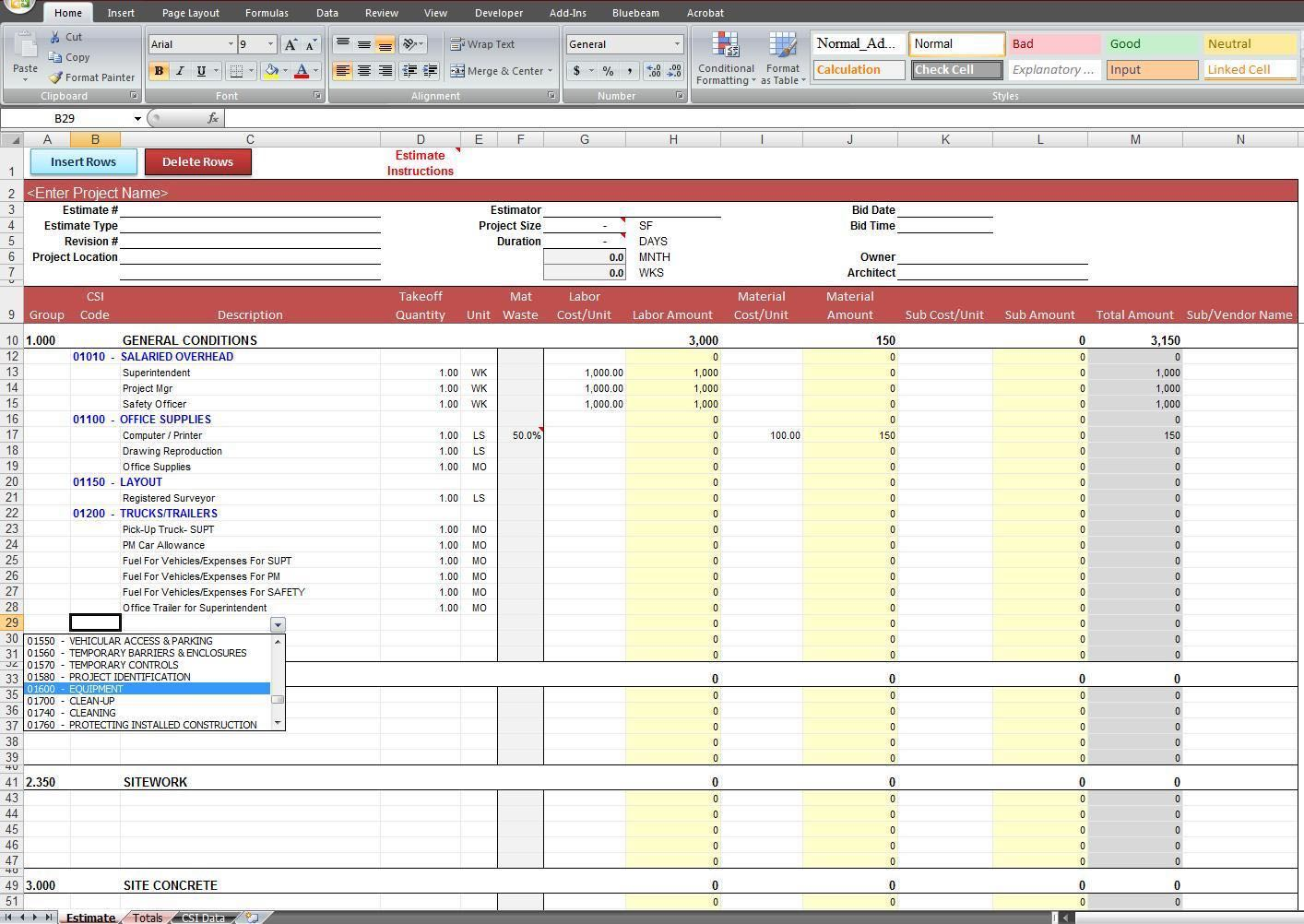 free home construction estimating spreadsheet templates